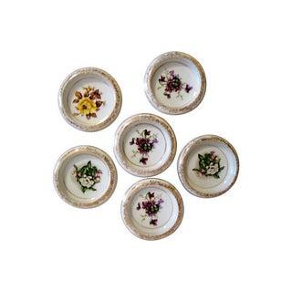 22k Gold Porcelain Floral Coasters - Set of 6