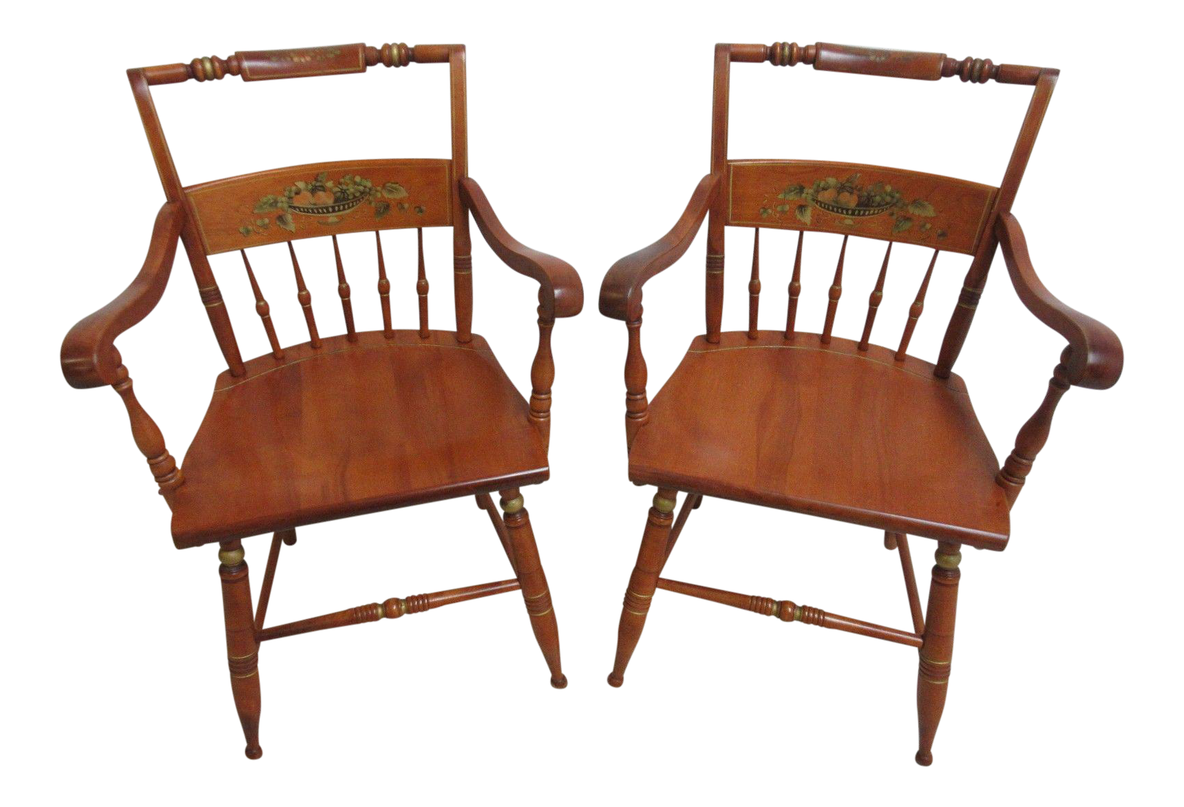 Bent Brothers Hitchcock Paint Style Dining Chairs   A Pair