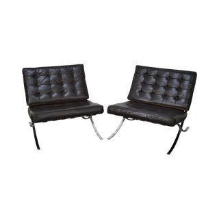 Barcelona Tufted Brown Leather Chrome Framed Lounge Chairs- A Pair
