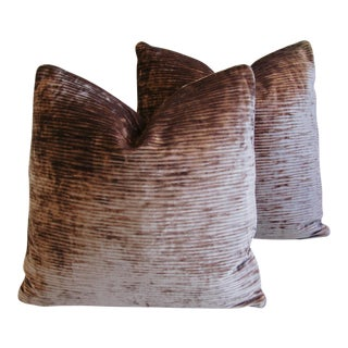 French Pierre Frey Velvet & Leather Pillows - a Pair