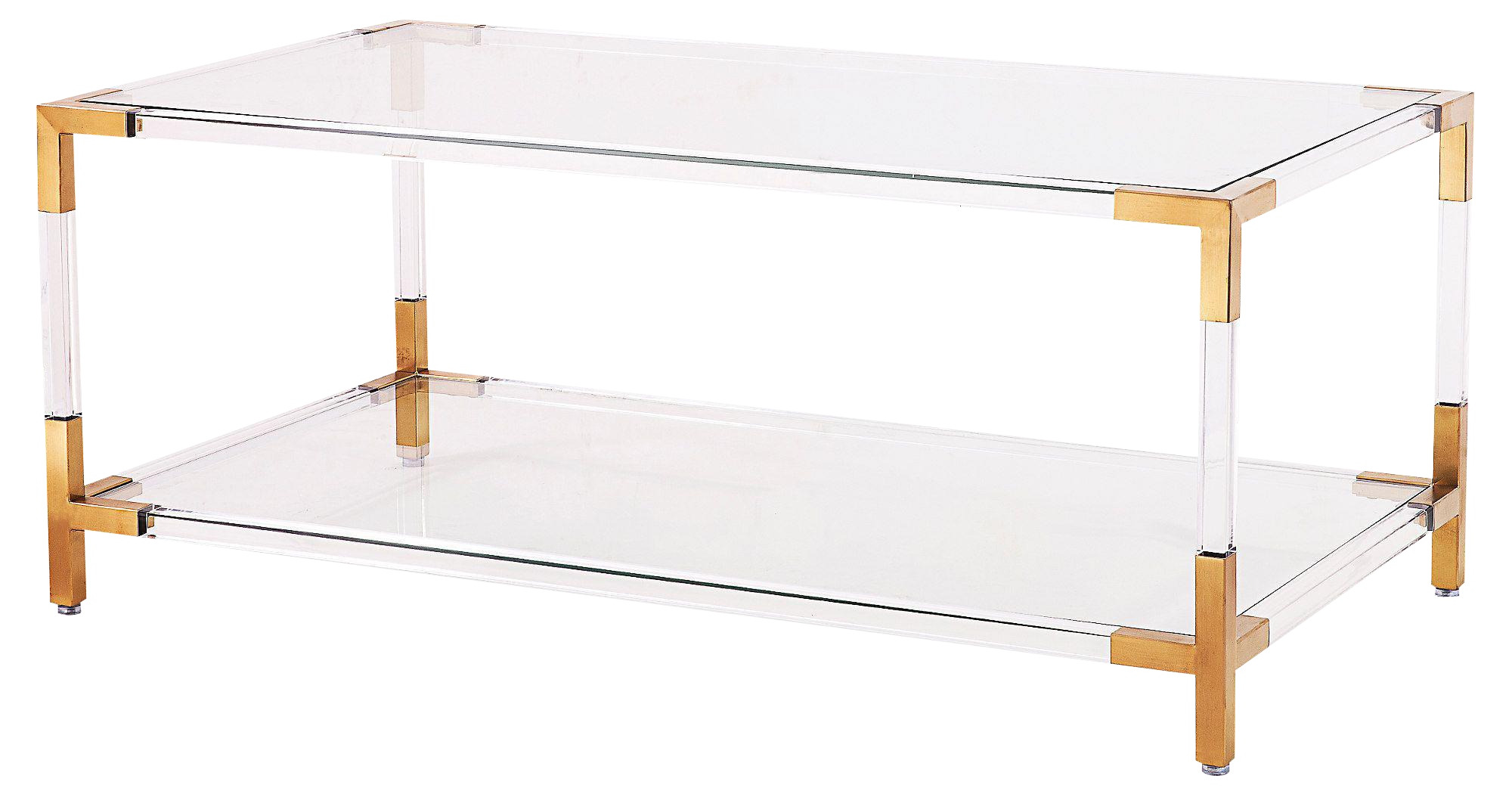 gold & acrylic frame coffee table with glass shelves | chairish