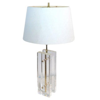 Paul Hansen Lucite and Brass Table Lamp