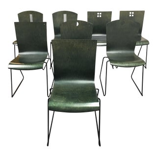 Leland International Green Stackable Chairs - Set of 8