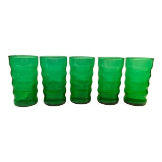 Mid-Century Modern Green Ribbed Tumblers - Set of 5