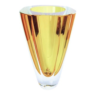 Large Amber Murano Glass Vase by Flavio Poli