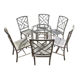Meadowcraft Chinoiserie Faux Bamboo Patio Set - 7 Pieces