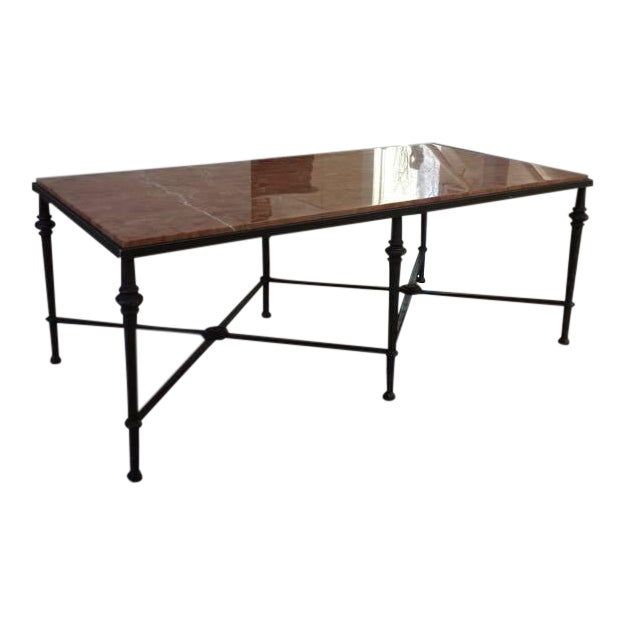 Wrought iron marble top coffee table chairish for Marble and wrought iron coffee table