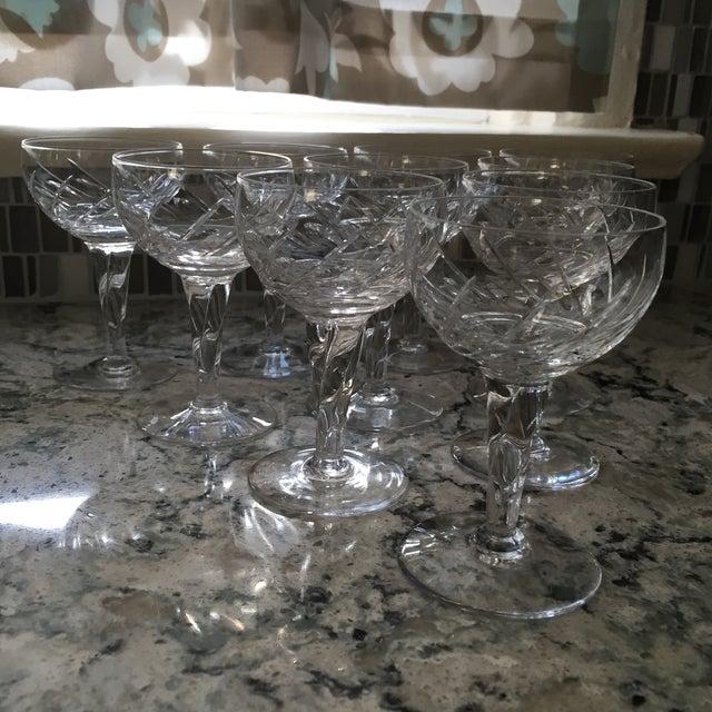 Image of Vintage Crystal Dessert Wine Glasses - Set of Ten