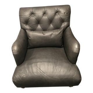 Graphite Tufted Leather Chair