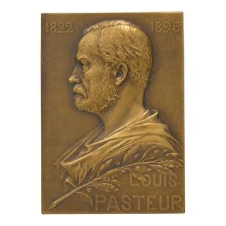 Louis Pasteur Bronze Plaque by Georges Prud'Homme c.1910
