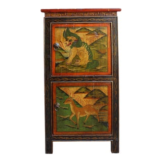Chinese Orange Yellow Tibetan Animal Graphic End Table Nightstand