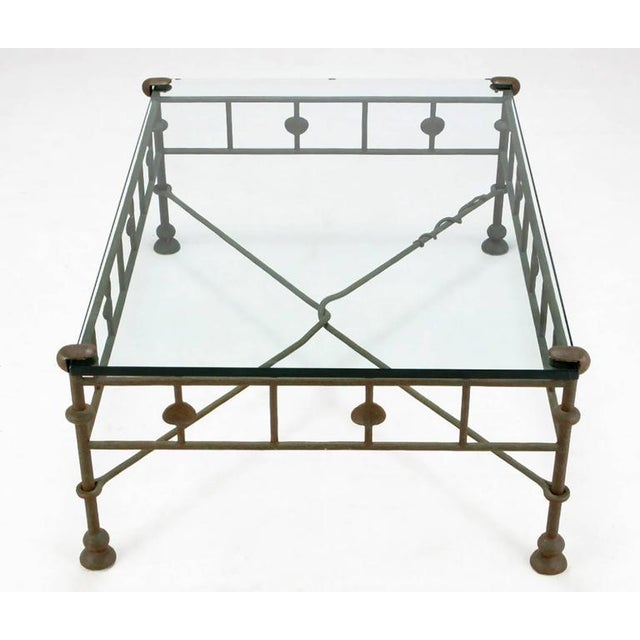 Giacometti-Style Patinated Hand-Wrought Iron and Glass Coffee Table - Image 2 of 6