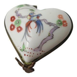 19th Century Chantilly Heart Shaped Trinket Box