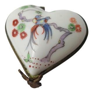 19th Century Chantilly Heart Shaped Trinket Box