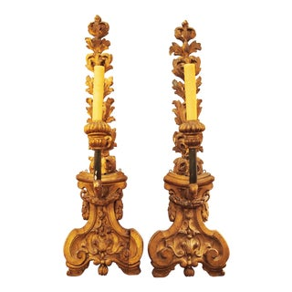 Pair of Finely Carved and Gilded Wall Lights