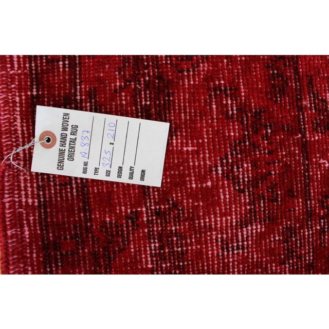 Red Overdyed Vintage Turkish Rug - 7′ × 10′10″ - Image 8 of 8