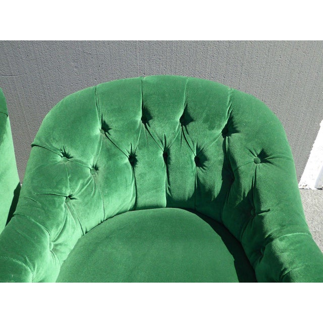 Vintage Pair of Mid Century Modern Tufted Green Velvet Swivel Club Chairs - Image 10 of 11