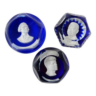 Baccarat President Sulphide Paper Weights - Set of 3