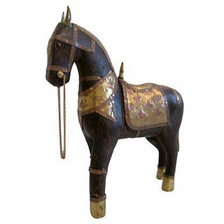 Wood, Brass & Copper Tang-Style Stallion