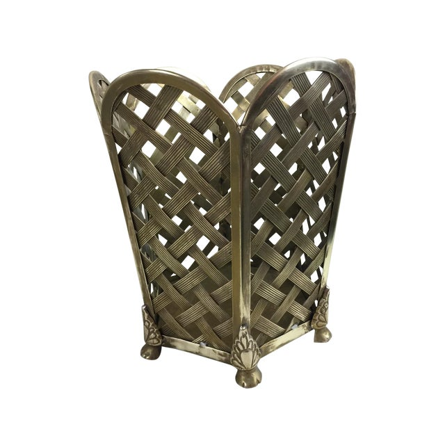 Vintage Woven Brass Wastebasket - Image 1 of 6