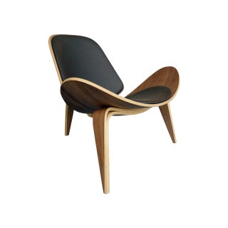 Plywood & Leather Wing Chair