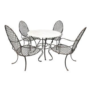 Rose Tarlow Twig Iron Garden Table & 4 Armchairs