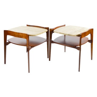 Travertine & Walnut Modern Side Tables - Pair