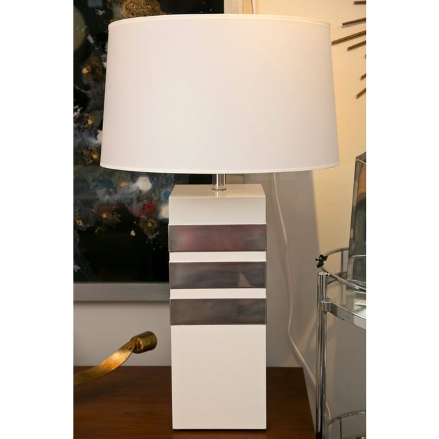 Mid-Century Modern Silver Banded Table Lamp - Image 2 of 6