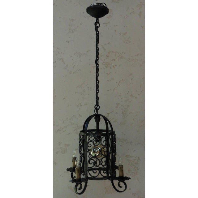Art Deco Iron Chandelier Lantern - Image 2 of 4