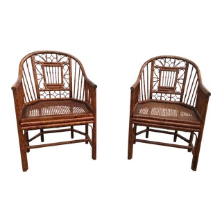 Vintage Brighton Pavilion Style Bamboo and Cane Chairs - A Pair