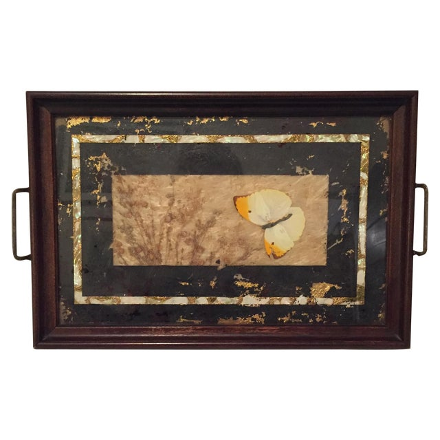 Pressed Butterfly and Gold Leaf Tray - Image 1 of 7