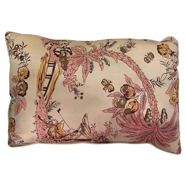 Silk and Linen Asian Throw Pillow - Image 1 of 3