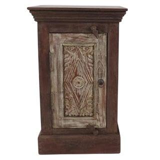 Whitewash Carved Door Bedside Cabinet