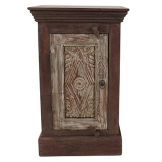 Whitewash Carved Door Bedside Cabinet