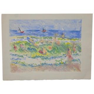 "Arnold Grossman ""A Day On The Surf"" Monoprint"