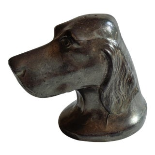 Vintage Pewter Spaniel Dog Head Figurine Salt Shaker