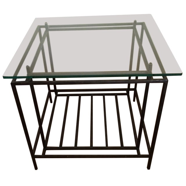 Mitchell Gold Glass Top Occasional Table - Image 1 of 5