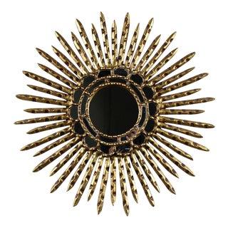 Vintage Italian Sunburst-Style Gilt Wood Mirror