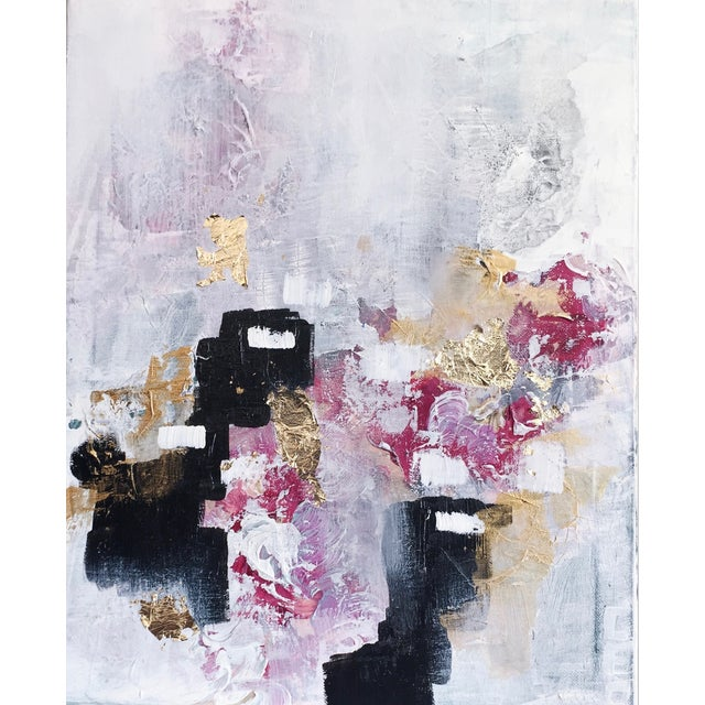 'Blush' Acrylic & Gold Leaf Abstract Painting - Image 1 of 2
