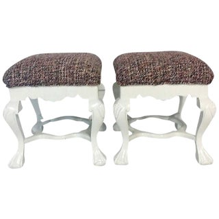 Chippendale Lacquered Mahogany Chanel Upholstered Benches - A Pair