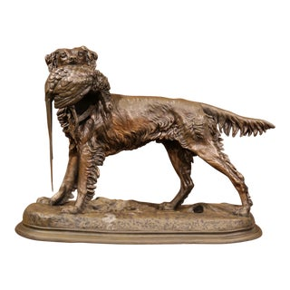 19th Century French Patinated Spelter Hunting Dog with Bird Signed J. Moigniez