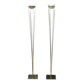 Pair of Brass Mid-Century Modern Halogen Floor Lamps