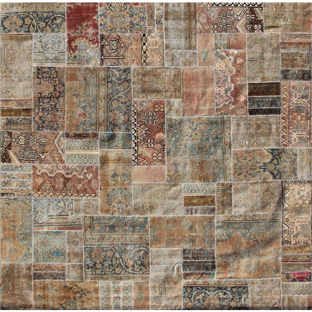 "Hand-Knotted Brown Patchwork Rug - 9'4"" x 9'5"" - Image 1 of 2"