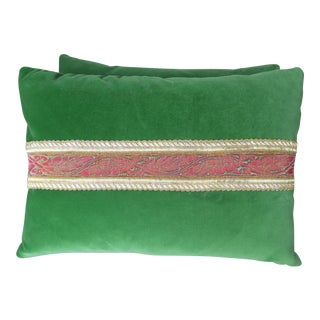 Petite Green Velvet Pillows w/ Metallic Trims - A Pair