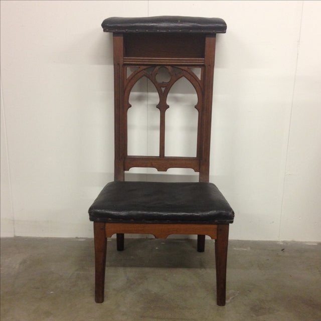 Antique Prie-Dieu Gothic Leather Prayer Chair - Image 2 of 5