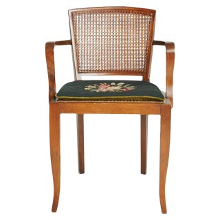 1930 Art Deco Caned Arm Chair with Needlepoint Cushion