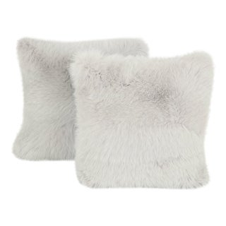 Gray Fur Pillows - A Pair