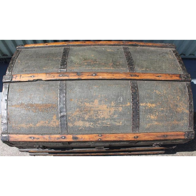 19th Century Original Green Painted Dome Top Trunk - Image 3 of 9