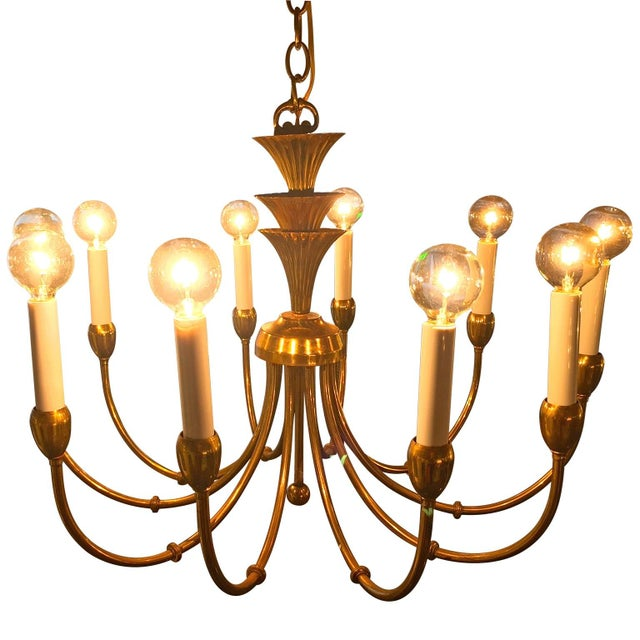 Mid-Century Modern Brass Chandelier in the Manner of Tommi Parzinger - Image 5 of 6