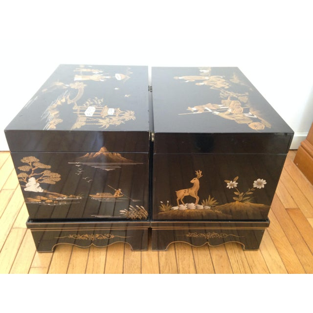 Vintage Chinese Laquered Chests - A Pair - Image 10 of 11
